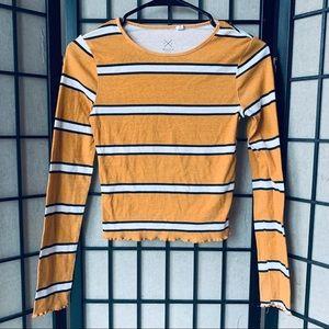 PAC Sun yellow striped long sleeve crop top sz S